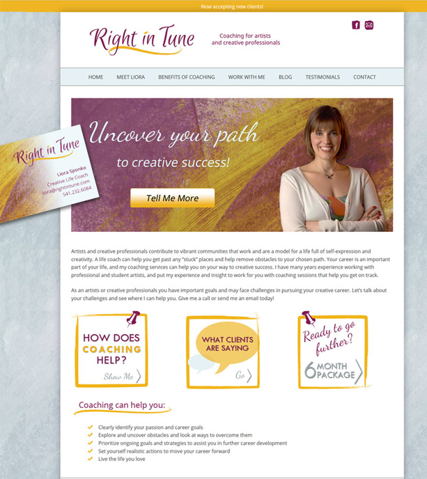 right in tune web site Rainsong Design graphics business card Eugene Oregon