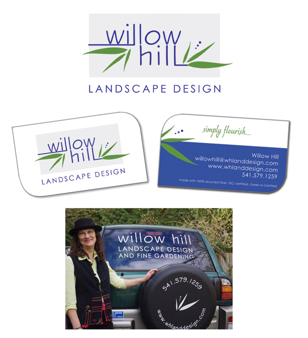 landscape designer graphics logo business card Rainsong Design