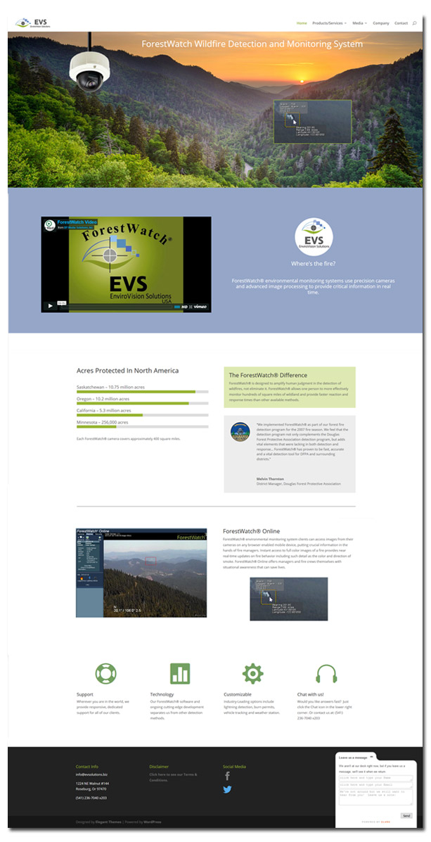 professional website design evs solutions Rainsong Design wordpress