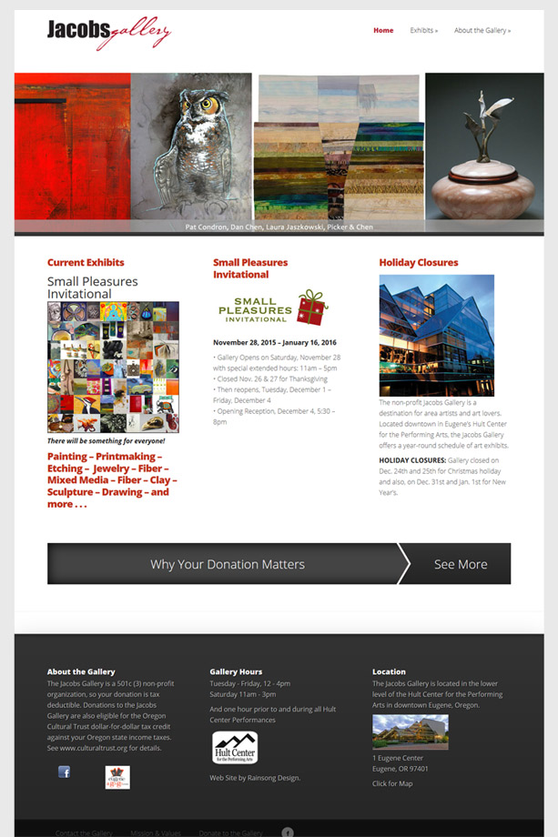jacobs gallery wordpress website Rainsong Design art